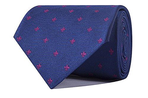 Sologemelos - Cravate Fleur De Lis - Bleu, Rose 100% soie naturelle - Hommes - Taille Unique - Confection artesanale Made In Italy