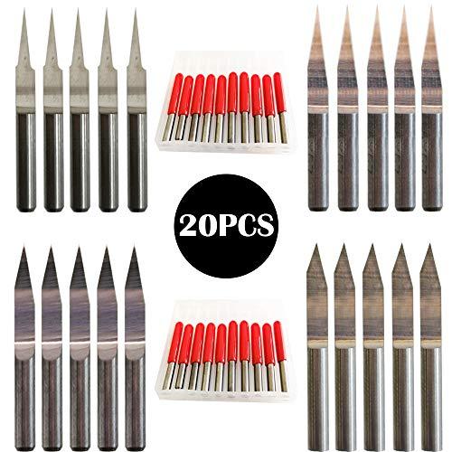 CESFONJER CNC Gravierstichel, 3,175 mm 10 ° 15 ° 20 ° 30 ° Carbide Gravur Bit, 0,1 mm, 0,2 mm Spitze Gravur Messer CNC-Router-Tools für Leiterplatte (20er Pack)