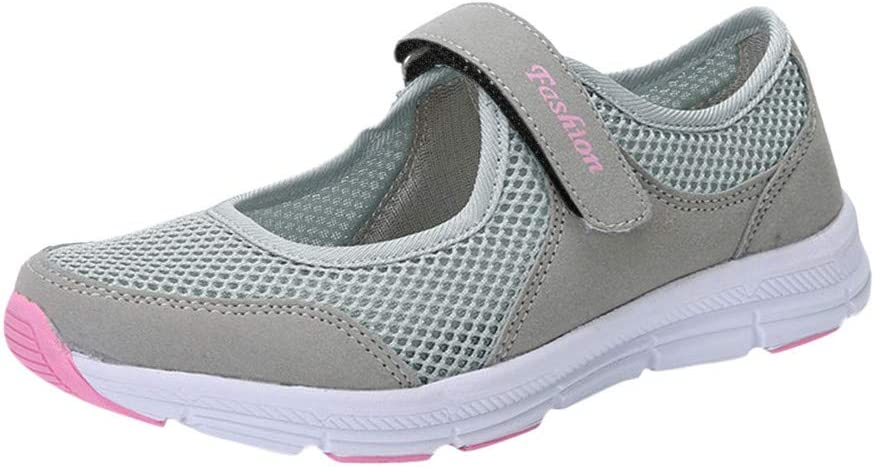 Casual Walking Slip On Sneakers,RQWEIN Women's Comfort Nurse Shoes Adjustable Breathable Wedges Fitness Casual Shoes Mary Jane Sneaker(Gray,5