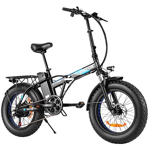 BIKFUN Fat Bike Elettrica 20' 4.0,48V 350W Bici Elettrica Pieghevole 20 Pollici con Batteria 12,5Ah 600Wh LCD Display, Elettrica Pedalata Assistita Shimano 7 Velocità, Bici Elettriche E-Bike 30 km/h