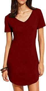 Women's Summer Short Sleeve Slim Fit Shirts Mini Dresses Floral Print Juniors Dress Top