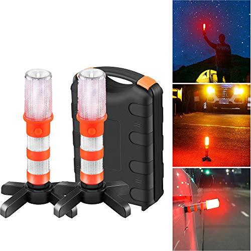 Sunsbell Luz Emergencia Coche, 2 UNIDS Luz de Advertencia de Seguridad Luces Estroboscopicas Kit de Luz Baliza de Advertencia para Advertencias de Tráfico Obstáculos