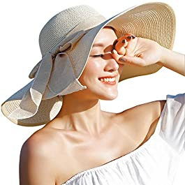 Lanzom Womens Big Bowknot Straw Hat Floppy Foldable Roll up Beach Cap Sun...