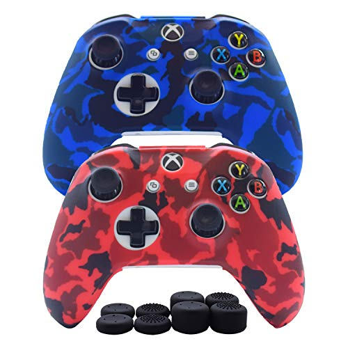 Hikfly Silicone Gel Controller Cover Skin Protector Kits for Xbox One/Xbox One S/Xbox One X Controller Video Games(2x Controller Camouflage cover with 8 x Thumb Grip Caps)(Blue,Red)