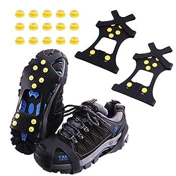 Rakaraka Crampons pour Chaussures Antidérapant avec 15 Goujons Remplaçables la Glace, Les Randonnées, la Chasse et la Marche en Hiver (Noir, L)