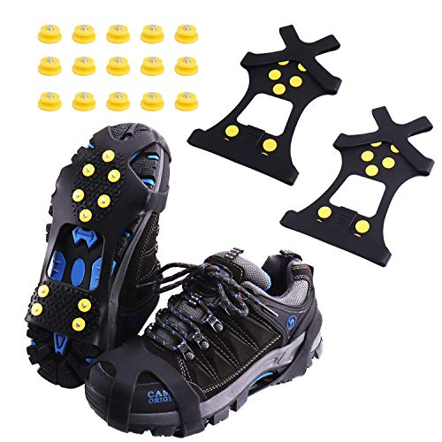 Rakaraka Schuhspikes, Schuhkrallen Steigeisen mit Einem 15er-Pack Ersatz - Schneespikes für Winter Walking Wandern Bergsteigen(Yellow, XL)