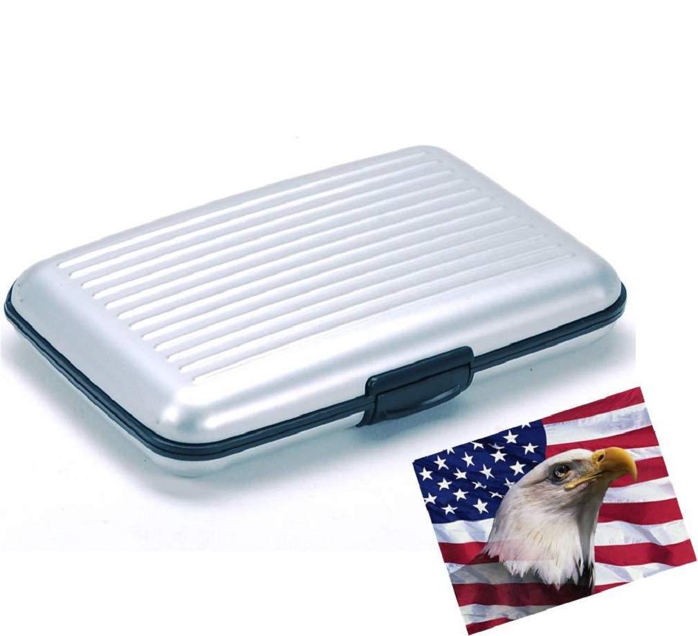 iLett。アルミ財布、トランペット、シルバー、抵抗、カード保護、RFIDブロック、カードホルダー、6ポケット。旅行に適した超薄型で携帯可能