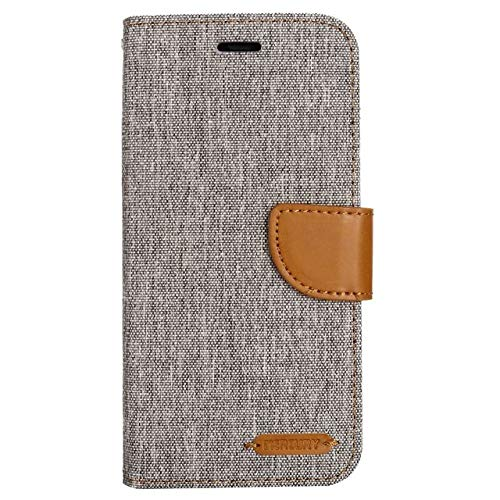 OPXZPM Carcasa de telefono Denim Mixed Colors PU Funda de Cuero para iPhone 11 Pro MAX X XS XR XS MAX 5 5S SE 6 6S 7 8 Plus, Gris, para iPhone 7 8 Plus