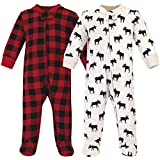Hudson Baby Unisex Baby Premium Quilted Zipper Sleep and Play, Moose, 0-3 Months