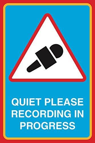 Stille Gelieve Opnemen In Progress Print Microfoon Picture Notice Studio Office Business Sign