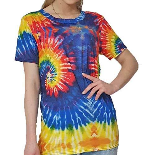 Islander Fashions Womens Regenboog Tye Dye Print T Shirt Dames Korte mouw Party Wear Top Tees