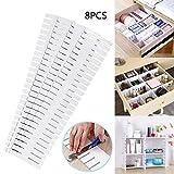 KEISL Lot de 8 séparateurs de tiroir en Plastique réglables pour Tous Les Types de Compartiments de Rangement 32,4 x 7 cm