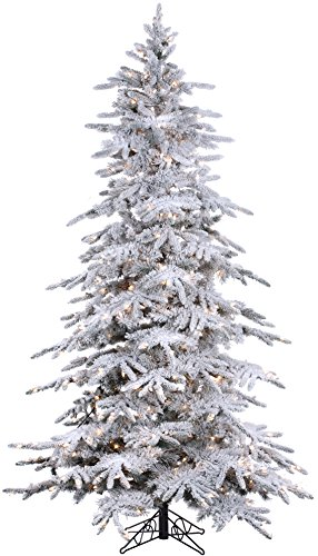 Fine Expectations 7.5FT Prelit Flocked Bavarian Pine, Fresh Snowfall Look, Clear UL Warm White Lights Stay on if a Bulb Burns Out! 1,278 Tree Tips, Artificial Christmas Tree, Zippered Storage Bag
