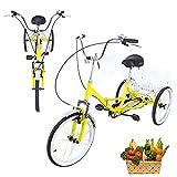 Triciclo para adultos, 3 ruedas, 20 pulgadas, 1 velocidad, plegable, color amarillo, con cesta de la compra