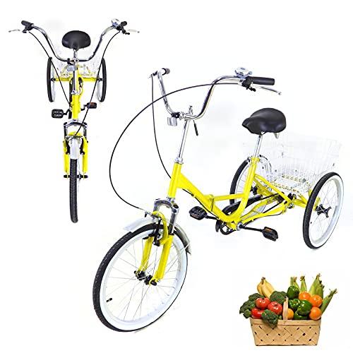 Tricycle pour Adulte 20 Pouces 3 Roues Vélos Senior Bicycle Tricycle Adulte avec Panier Panier à vélo Trike Tricycle pédale vélo pour Faire du Shopping en Plein air de Pique-Nique Sports