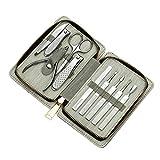 GYZCZX Kit de Cuidado de uñas de Acero Inoxidable de 10 Piezas para Mujeres y Hombres, Juego de manicura y pedicura Profesional, Kit de Aseo con Estuche de Viaje
