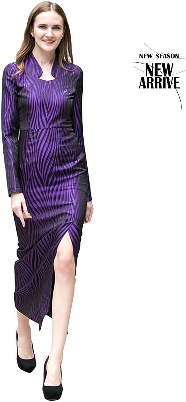 2018 Ladies New Purple Stripes Long Step Dress Elegant Temperament Slim Dress (Size   XXL)