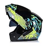 WWMH Klapp-Helm Motorrad-Helm Flip-Up Modular-Helm Integral-Helm Roller-Helm Full-Face Scooter-Helm für Männer und Frauen