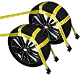 Car Basket Straps, 2pcs Adjustable Yellow Vehicle Tire Wheel Tow Basket Strap with Flat Hooks for 15