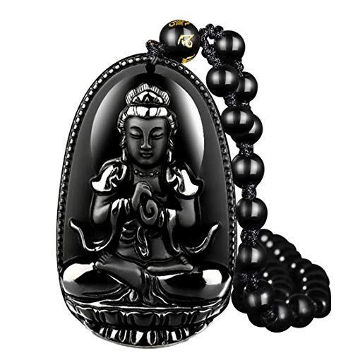 black Obsidian Pendant Necklace Obsidian Crystal Pendant Necklace Pattern with Extend Bead Chain for Women or Men Buddha Kwan-Yin