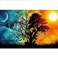 5D DIYダイヤモンド絵画刺繡「太陽と月」の手工芸品の針仕事、動く石のモザイククロスステッチの装飾40x50cm