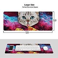 ピザを持つ宇宙 猫 マウスパッド キーボードパッド 滑らかマウスパッド ゲーミングパッド 大型 オフィス 家庭用
