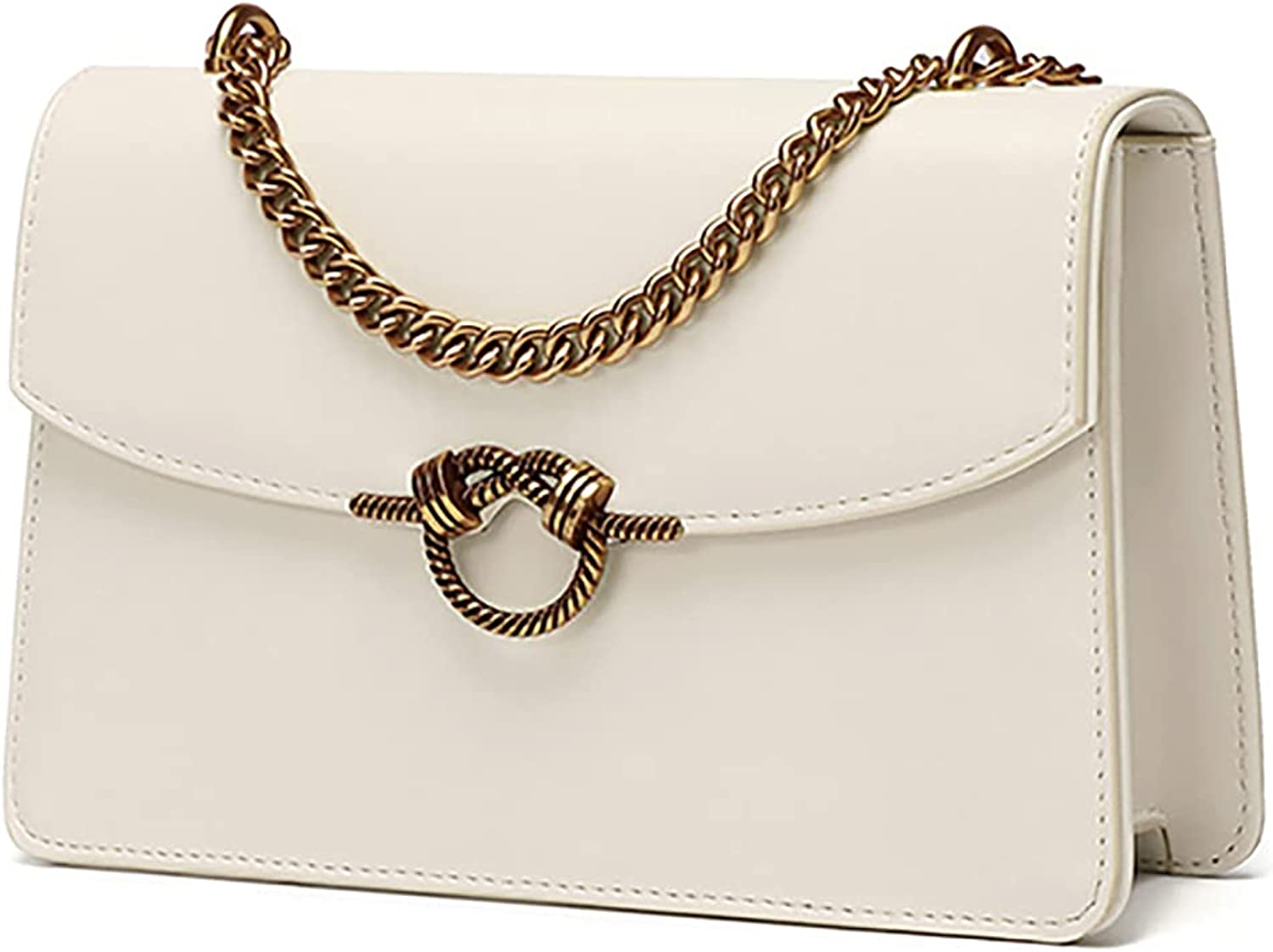 Retro Crossbody and Shoulder Bags for Women - Fashion Leather Simple Small Square Bag with Metal Chain Strap Designer Handbag