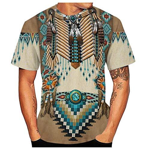 Yowablo T-Shirt Herren Casual 3D Ethnic Indian Style Digital Geometric Print Kurzarm (XL,5Khaki)