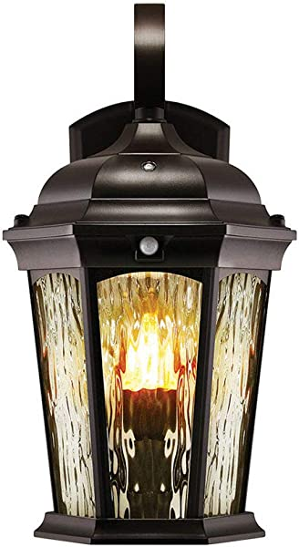 Euri Lighting EFL 130W MD Flickering Flame Lantern Water Glass With Integrated Security Light 3000K Photocell And Motion Sensor Dusk To Dawn Oil Rubbed Bronze Housing