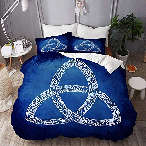 REEDOPTN 3 Pieces Duvet Cover Set King Size Brushed Microfiber 4 Corner Ties Soft and Cooling, Comfortable, Easy to Care, Cozy Bed Cover - Triquetra_ Celtic, Body, Mind and Spirit Symbol Design