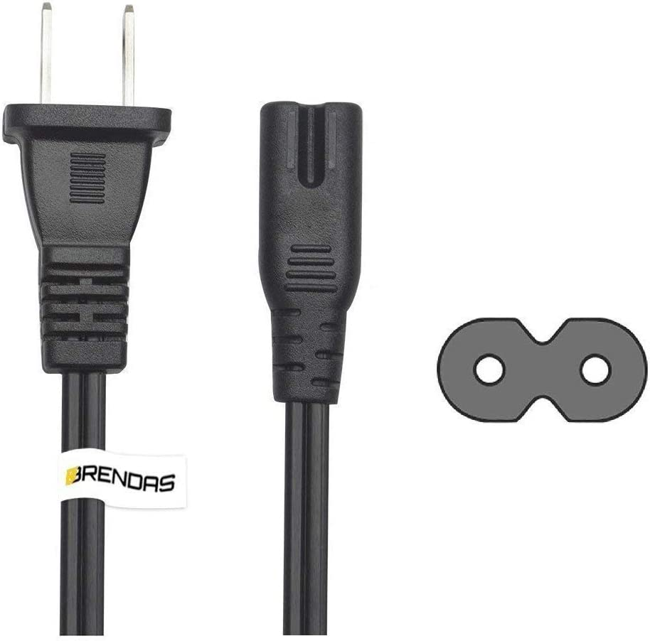 BRENDAZ Premium Quality Non Polarized Two-Slots Power Cord – Compatible with Printers, Smart LEDs, TVs, Play-Station 3, PS4, PS 5 & Laptop Chargers – Two Pin Power Cable NEMA 1-15P to IEC C7 (1-Feet)