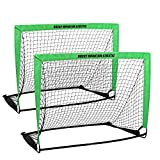 TheraCool Soccer Goals for Backyard Kids Portable Pop Up Net for Indoor or Outdoor Training – Set of 2 Goals w/Carrying Case 4' x 3'