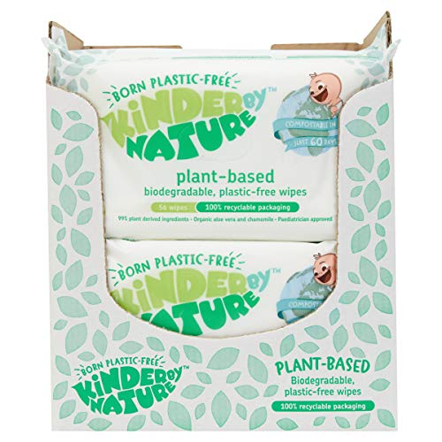 Jackson Reece, Kinder by Nature Plant-Based Wipes (100% Biodegradable & Compostable with Recyclabale Packaging + Vegan Friendly) Case of 12 Packs