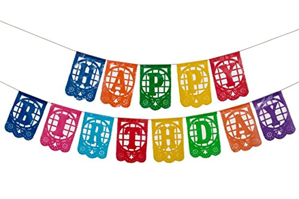 Paper Full of Wishes I Plastic Mexican Papel Picado Banner I Happy Birthday I Multi-Color Small Letrero Banner