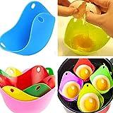LOVEQIZI Braconnier à œufs, Tasses à braconner en Silicone avec Support intégré pour Anneau,...