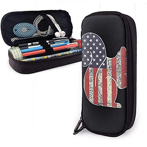 Estuche de cuero para bolígrafo Bandera de ardilla americana Estuche para lápices Bolso Estuche de maquillaje cosmético Bolso