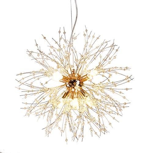 Qamra Modern Gold Kristall Kronleuchter, 9-Lichter Feuerwerk Löwenzahn Sputnik