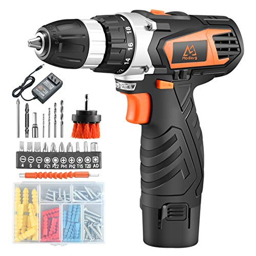 MAIBERG Cordless Drill Driver Set, 12V Battery Electric Power Drill with 3/8 inches Keyless Chuck, 2 Variable Speed, 20pcs Accessories include Drywall Anchor Screws, Brush and Drill Bits