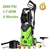 Homdox Electric Pressure Power Washer 2850PSI 1.7GPM High Pressure Power Washer 1800W Machine Cleaner with Hose Reel, 5 Nozzles(Green)