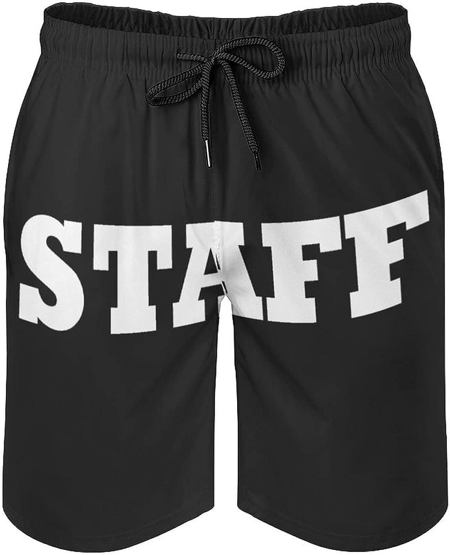 B&MAVIS Team Staff Men's Summer Quick Dry Swim Trunks Casual Board Shorts Beachwear for Boys Men