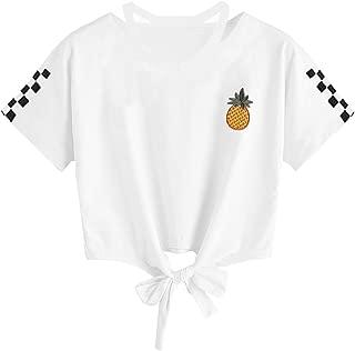 FSSE Womens Short Sleeve Pineapple Print Loose Fit V-Neck Crop Top T-Shirt Blouse