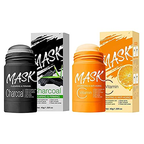 VC/Bamboo charcoal Purifying Clay Stick Mask, Clear Skin Solid Mask Stick, Poreless Deep Cleanse Cream Stick, Improves Skin, for Men Women All Skin Types (2PCS)