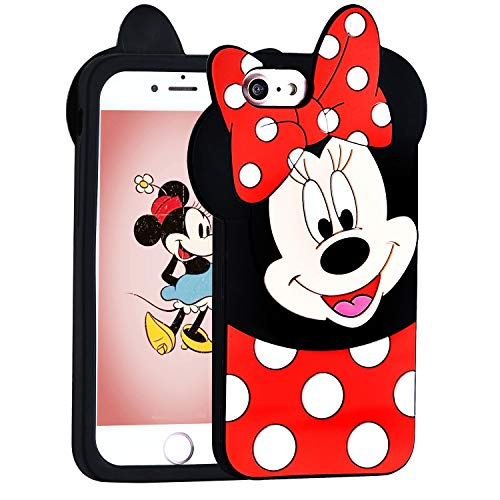 Lalakaka Funny Minnie Case for iPhone SE/iPhone 5/iPhone 5C/5S Animal Character 3D Cartoon Cute Silicone Soft Animated Mouse Fun Stylish Fashion Cool Girl Cover for Girls Kids Child Teens(iPhone 5)