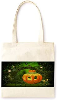 Cotton Canvas Tote Bag Modern Night Candle Fairy Tale Pumpkin Lantern Vintage Style Halloween Party Printed Casual Large Shopping Bag for School Picnic Travel Groceries Books Handbag Design