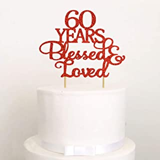 60 Years Blessed & Loved Cake Topper, Glitter 60th Anniversary Wedding Birthday Party Decorations Supplies (Red)