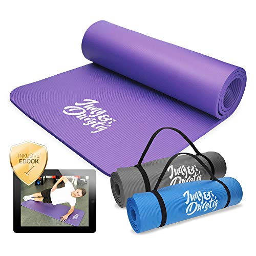 Jung & Durstig Original Yogamatte | Fittnessmatte inklusive Bauch Beine Po Workout als Ebook | Gymnastikmatte in versch. Farben | Sportmatte mit Tragegurt für Zuhause und unterwegs | 180 x 60 cm