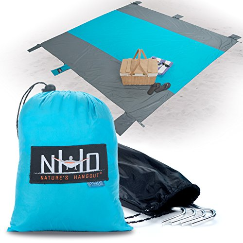 Oversized Sand-Free Beach Blanket - SilNylon Keeps You 100% Dry On Wet Sand & Grass. Large 10' x 9' and Ultralight. Sand Proof + Waterproof Beach Throw Blanket. 6 Pockets 4 Windproof Stakes (Orange)