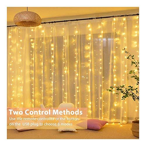 Zueyen 300 Luces LED Impermeables con Ganchos 3 x 3 m, Cadena de Luces con Temporizador 8 Modos de Brillo Ajustable, Enchufe USB, Control Remoto para Dormitorio, Interior, Exterior, Boda