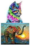 GOTONE 2 piezas 5d kits de pintura de diamante taladro completo acrílico bordado punto de cruz para adultos niños decoración de la pared del hogar gato elefante (lienzo 20 x 30 cm)