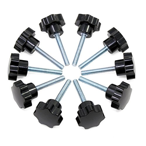Hseamall 10PCS M6x40 Manopola di serraggio del filo Manopola in plastica nera Maniglia a forma di stella sul pomello per macchina utensile